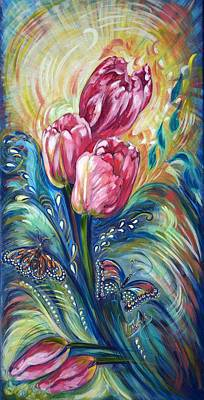 Covered Bridge Painting - Pink Tulips And Butterflies by Harsh Malik