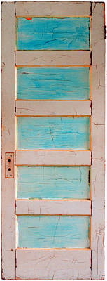 Turquoise Doorway And Ladder To The Sky Print by Asha Carolyn Young