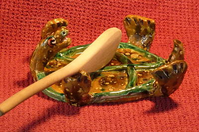 Customcrittersbydeb Sculpture - Turtle Spoon Rest by Debbie Limoli