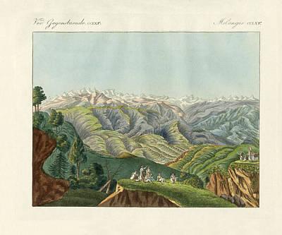Two Views Of The Himalayas Print by Splendid Art Prints