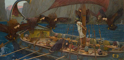 Ulysses And The Sirens Print by John William Waterhouse