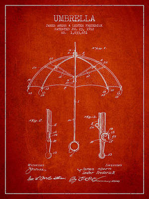 Umbrellas Digital Art - Umbrella Patent Drawing From 1912 by Aged Pixel
