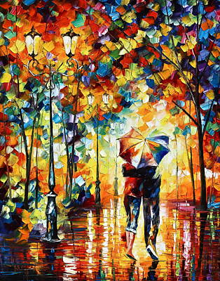 Park Oil Painting - Under One Umbrella by Leonid Afremov
