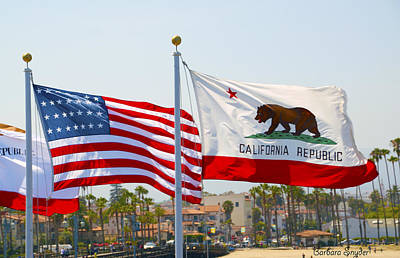 Patriotism Painting - United States And California Flags by Barbara Snyder