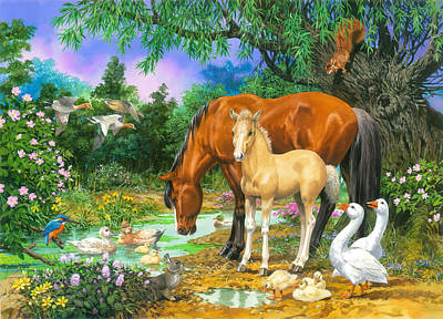 Foal And Mare By The Stream Variant 1 Print by John Francis