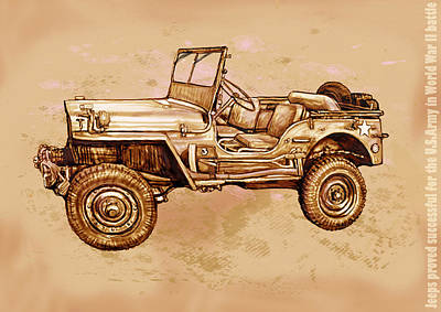 Us Army Jeep In World War 2 - Stylised Modern Drawing Art Sketch Print by Kim Wang