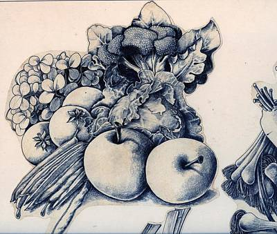 Broccoli Drawing - Vegetables by Arthur Glendinning