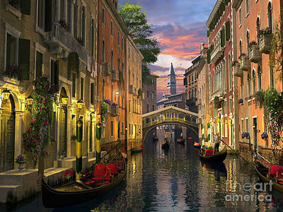 Canals Digital Art - Venice At Dusk by Dominic Davison