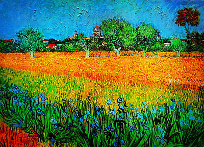 Bird Painting - View Of Arles With Irises by Celestial Images