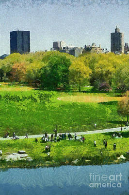 Manhattan Painting - View Of Great Lawn In Central Park by George Atsametakis