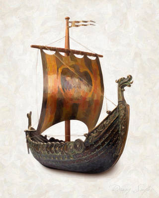 Old Objects Painting - Viking Ship  by Danny Smythe