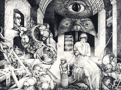 Mystic Drawing - Vindobona Altarpiece IIi - Snakes And Ladders by Otto Rapp