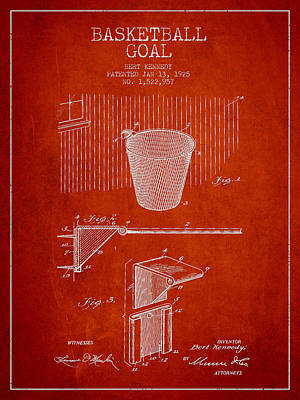 Basketball Digital Art - Vintage Basketball Goal Patent From 1925 by Aged Pixel