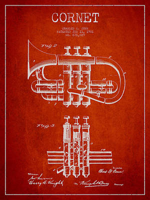 Trumpet Digital Art - Cornet Patent Drawing From 1901 - Red by Aged Pixel