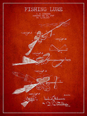 Vintage Fishing Lure Patent Drawing From 1929 Print by Aged Pixel