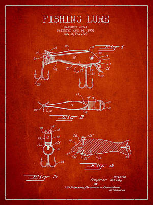 Vintage Fishing Lure Patent Drawing From 1956 Print by Aged Pixel