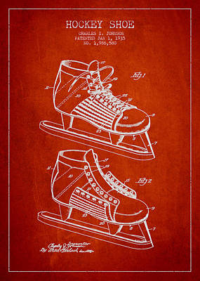 Hockey Games Drawing - Vintage Hockey Shoe Patent Drawing From 1935 by Aged Pixel
