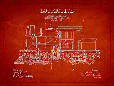 Train Digital Art - Vintage Locomotive Patent From 1892 by Aged Pixel