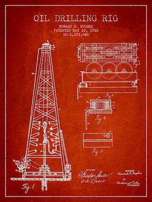 Antique Drawing - Vintage Oil Drilling Rig Patent From 1916 by Aged Pixel