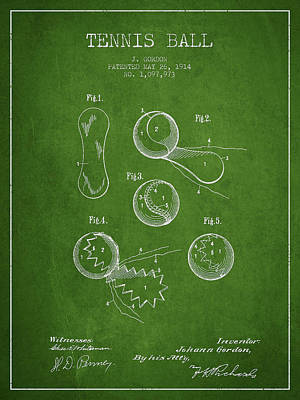 Tennis Digital Art - Vintage Tennnis Ball Patent Drawing From 1914 by Aged Pixel