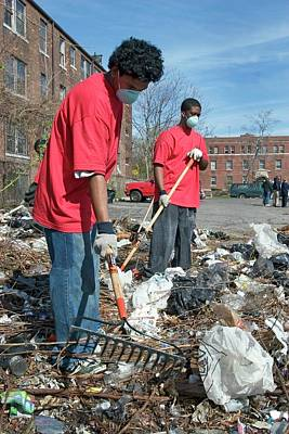 Altruism Photograph - Volunteers Clearing Rubbish by Jim West