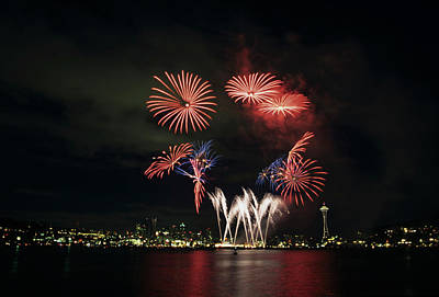 Parks Holidays Photograph - Wa, Seattle, Fireworks On July 4th by Jamie and Judy Wild