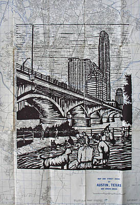 Linoleum Drawing - Waiting For The Bats by William Cauthern