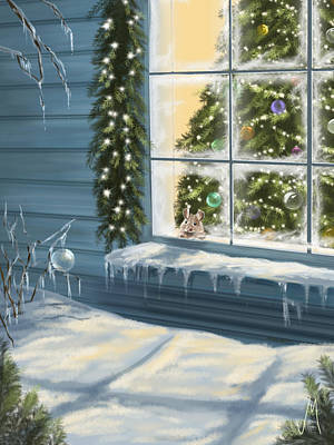Snowy Night Painting - Waiting... by Veronica Minozzi