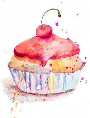 Muffins Painting - Watercolor Illustration Of Cake  by Regina Jershova