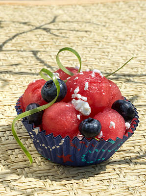 Watermelon Blueberry And Goatcheese Print by Iris Richardson