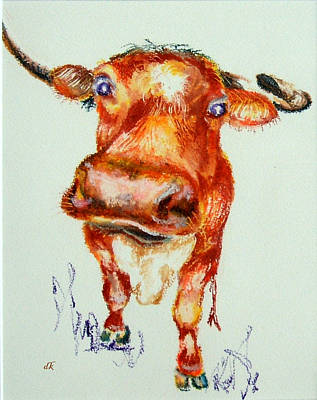 Steer Drawing - What No Cable by Diane Kraudelt