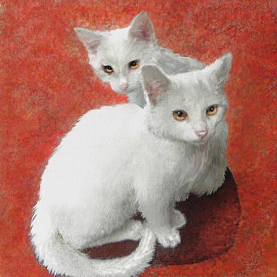 Kitty Digital Art - White Kittens by Jane Schnetlage