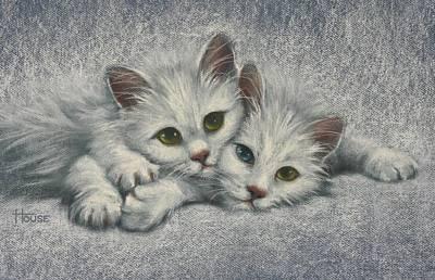 Feline Painting - White On White by Cynthia House