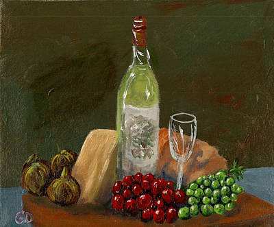 Bread And Cheese Painting - White Wine by Gail Daley