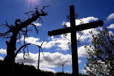 Bare Trees Photograph - Wind Turbine And Cross by Bernard Jaubert