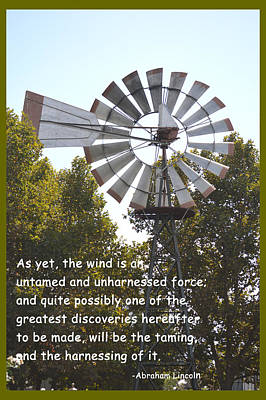 Windmill With Lincoln Quote Print by Barbara Snyder