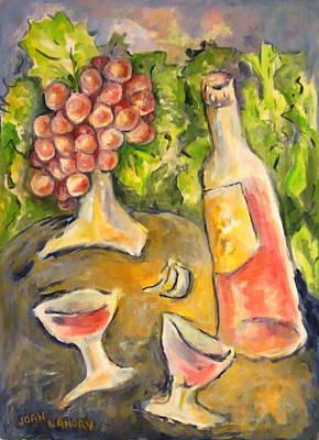 Napa Vineyard Card Painting - Wine And Grapes by Joan Landry