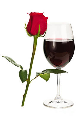 Pinot Photograph - Wine With Red Rose by Elena Elisseeva