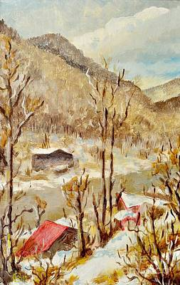 Nature Abstracts Painting - Winter Landscape by Martin Capek