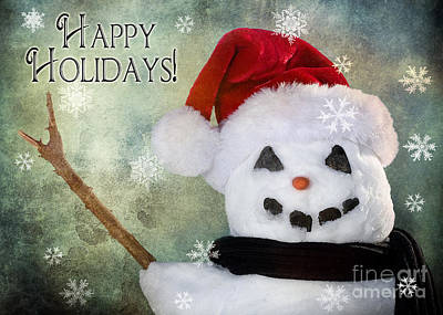 Horizontal Photograph - Winter Snowman by Cindy Singleton