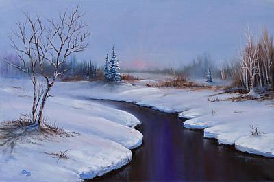 Sawtooth Mountain Art Painting - Winter Stillness by C Steele