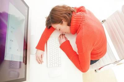 Woman Asleep On Keyboard Print by Ian Hooton