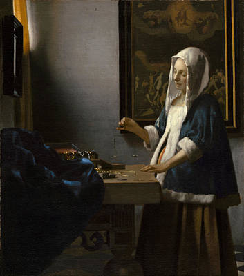 Woman Holding A Balance Print by Johannes Vermeer