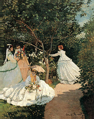 Woman In Red Dress Painting - Women In The Garden by Claude Monet