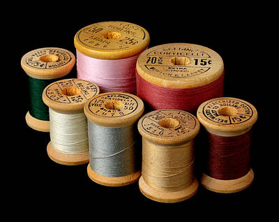Seamstress Photograph - Wooden Spools by Jim Hughes