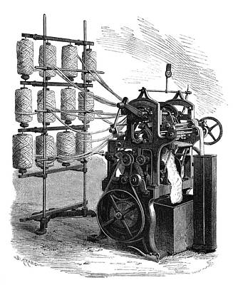 Wool Combing Machine Print by Science Photo Library