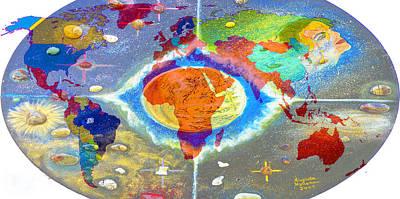 Obama Painting - World Map And Barack Obama Stars by Augusta Stylianou