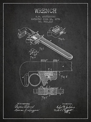 Wrench Patent Drawing From 1896 Print by Aged Pixel