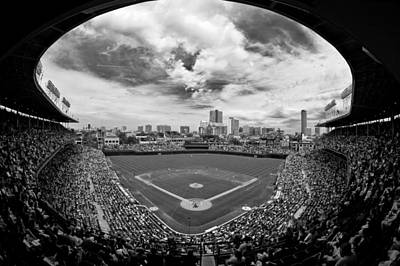Black And White Photograph - Wrigley Field  by Greg Wyatt