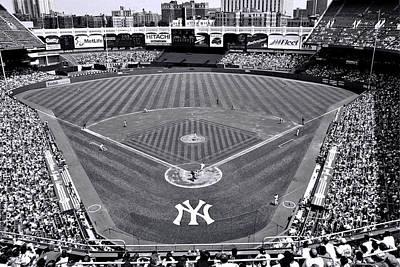 Yankee Stadium Bleachers Photograph - Yankee Stadium  - Black  And  White by Allen Beatty